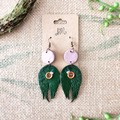Boho Minimalist Fantasy Polymer Clay Circle Leaf Dangle Statement Earrings