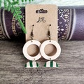 Minimalist Polymer Clay Semi Circle Lines Dangle Statement Earrings