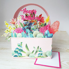 Native Floral Basket Card, Australian Natives Floral Display, 3D Birthday Card