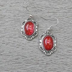 RED MOTTLED GLASS STONE DANGLE EARRINGS, SILVER AND RED EARRINGS, FILIGREE EARRI