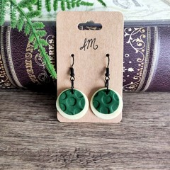 Minimalist Polymer Clay Two Circle Dangle Statement Earrings