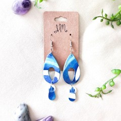 Celestial Space Minimalist Polymer Clay Tear Drop Dangle Statement Earrings