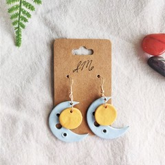 Boho Minimalist Polymer Clay Cutout Circle Crescent Dangle Statement Earrings