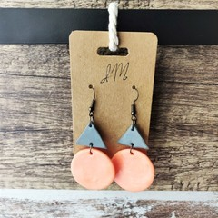 Geometric Minimalist Polymer Clay Circle Triangle Dangle Statement Earrings