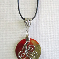 Resin  Pendant ...Always Beautiful Red & Gold