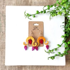 Boho Unique Custom Fantasy Polymer Clay Dangle Statement Earrings