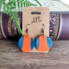 Minimalist Polymer Clay Two Tone Circle Dangle Statement Earrings
