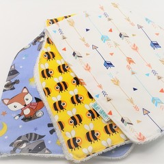 Set of 3 Baby Burp Cloths, Cotton Fabric, Soft Bamboo Toweling Backed.