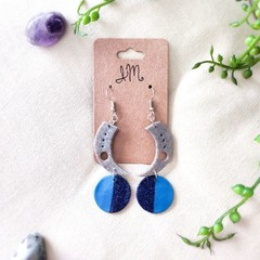 Celestial Space Minimalist Polymer Clay Crescent Dangle Statement Earrings