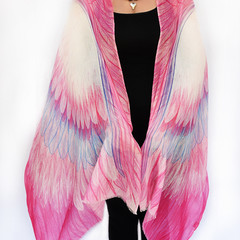 Pink Angel Wings Scarf, Special Gift, Boho Chic Wings Shawl