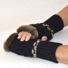 Fingerless Mittens With Faux Fur Trim