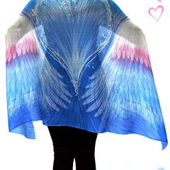 Gift of Love & Comfort. Blue Angel Wings Scarf, Sarong, Headwrap, Feathers Shawl
