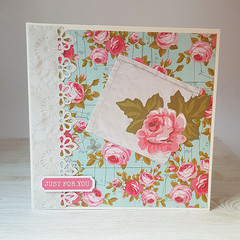 Just For You, Pink Roses, Women's Birthday Card, Floral Birthday Card