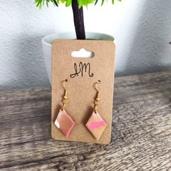 Geometric Diamond Polymer Clay Dangle Statement Earrings