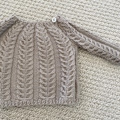 Latte cabled jumper - size 0-3 months - organic wool cotton blend