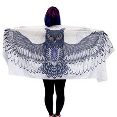 White Navy Owl Wings Scarf, Cotton, Sarong, Headwrap, Boho Festival Scarf