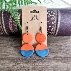 Minimalist Polymer Clay Two Tone Circles Dangle Statement Earrings