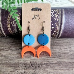 Minimalist Polymer Clay Circle Moon Dangle Statement Earrings