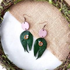Boho Minimalist Fantasy Polymer Clay Circle Leaf Dangle Statement Earrings