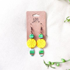 Mid-century modern Polymer Clay Abstract Circle Oval Dangle Statement Earrings