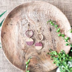 Boho Beach Vibes Polymer Clay Circle Dangle Statement Earrings