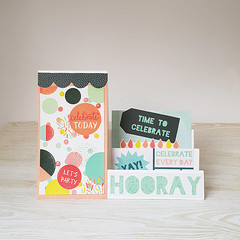 Happy Birthday Card,  Stepped Birthday Card, Party themed Card