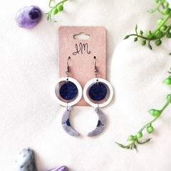 Celestial Space Minimalist Polymer Clay Circle Moon Dangle Statement Earrings