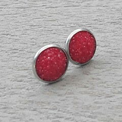RED AND SILVER STUD FAUX DRUZY EARRINGS, RED STUD EARRINGS, SILVER STUD EARRINGS