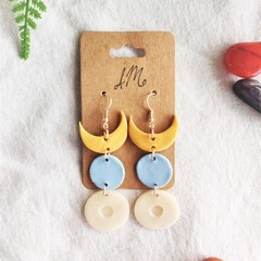 Boho Minimalist Polymer Clay Half Moon Circle Dangle Statement Earrings