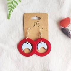 Boho Minimalist Polymer Clay Cutout Circle Moon Dangle Statement Earrings
