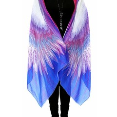 Wings Scarf in violet, blue. Special Gift, Boho shawl, Sarong