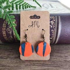 Minimalist Polymer Clay Small Two Tone Circle Dangle Statement Earrings