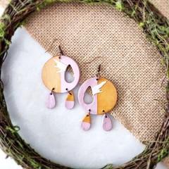Boho Minimalist Fantasy Polymer Clay Larger Circle Dangle Statement Earrings
