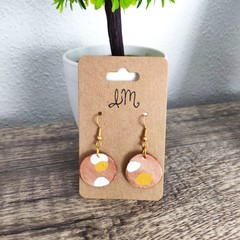 Geometric Polymer Clay Small Circle Dangle Statement Earrings