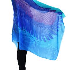 Wings Scarf, Resort wear, Aqua Blue Feather Scarf, Burning Man Costume, Festival