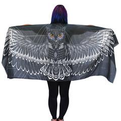Charcoal Black Owl Scarf, Cotton, Sarong, Headwrap, Boho Shawl, Mardi Gras