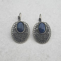 LEVER BACK BRONZE AND NAVY BLUE EARRINGS, FILIGREE BRONZE EARRINGS OOAK