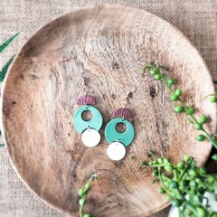 Boho Beach Vibes Polymer Clay SemiCircle Shell Dangle Statement Earrings