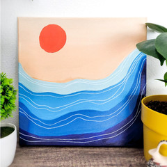 Minimalist Artwork Painting 'Sunset Waves' on Canvas