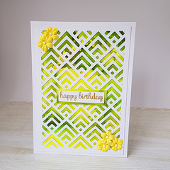 Happy Birthday Card, Alcohol Ink Card, Green and Yellow, Yellow Flowers