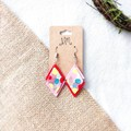 Geometric Mid-century Colourful Polymer Clay Dangle Statement Earrings