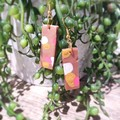 Geometric Polymer Clay Long Rectangle Dangle Statement Earrings