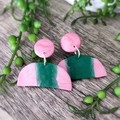 Geometric Polymer Clay Semi circle Stud Statement Earrings