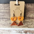 Geometric Minimalist Polymer Clay Semicircle Triangle Dangle Statement Earrings