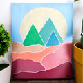 Minimalist Artwork Painting 'Mountains in the Distance' on Canvas