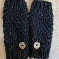 Black ladies or men's texting gloves  handwarmers fingerless gloves