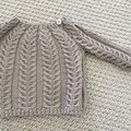 Latte cabled jumper - size 0-3 months - pure wool