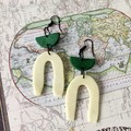 Minimalist Polymer Clay Uneven Arches Dangle Statement Earrings