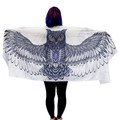 White Navy Owl Wings Scarf, Cotton, Sarong, Headwrap, Boho Festival Scarf