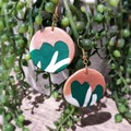 Geometric Polymer Clay Large Green Circle Dangle Statement Earrings